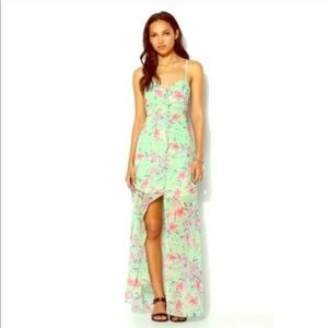 Mint and pink floral summer maxi dress